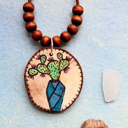 wood burning cactus, necklace, handmade