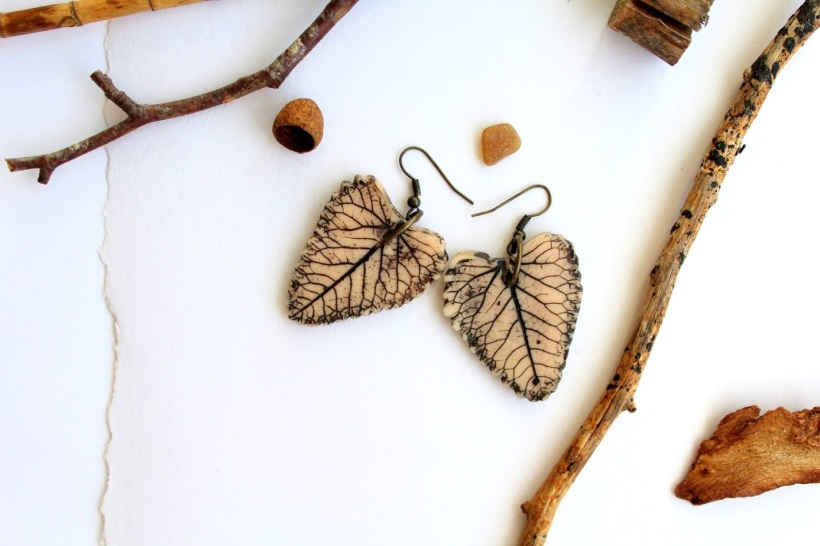 handmade modelled clay earrings
