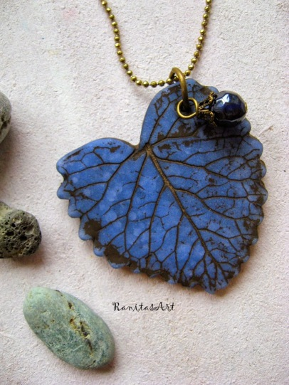 -sold- clay necklace stamped with a natural leaf