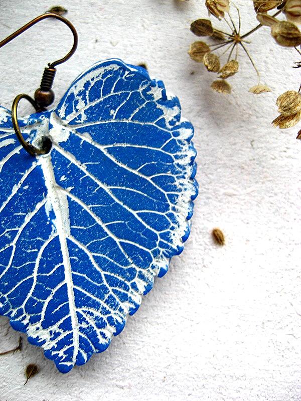 Ohrringe Blatt Blau DaWanda 3