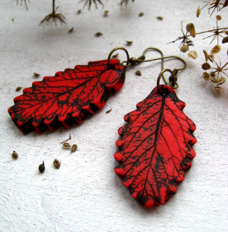 Ohrringe Blatt rot DaWanda 2