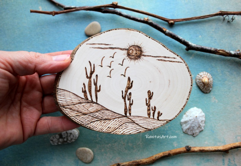 wood burning desert cactus picture
