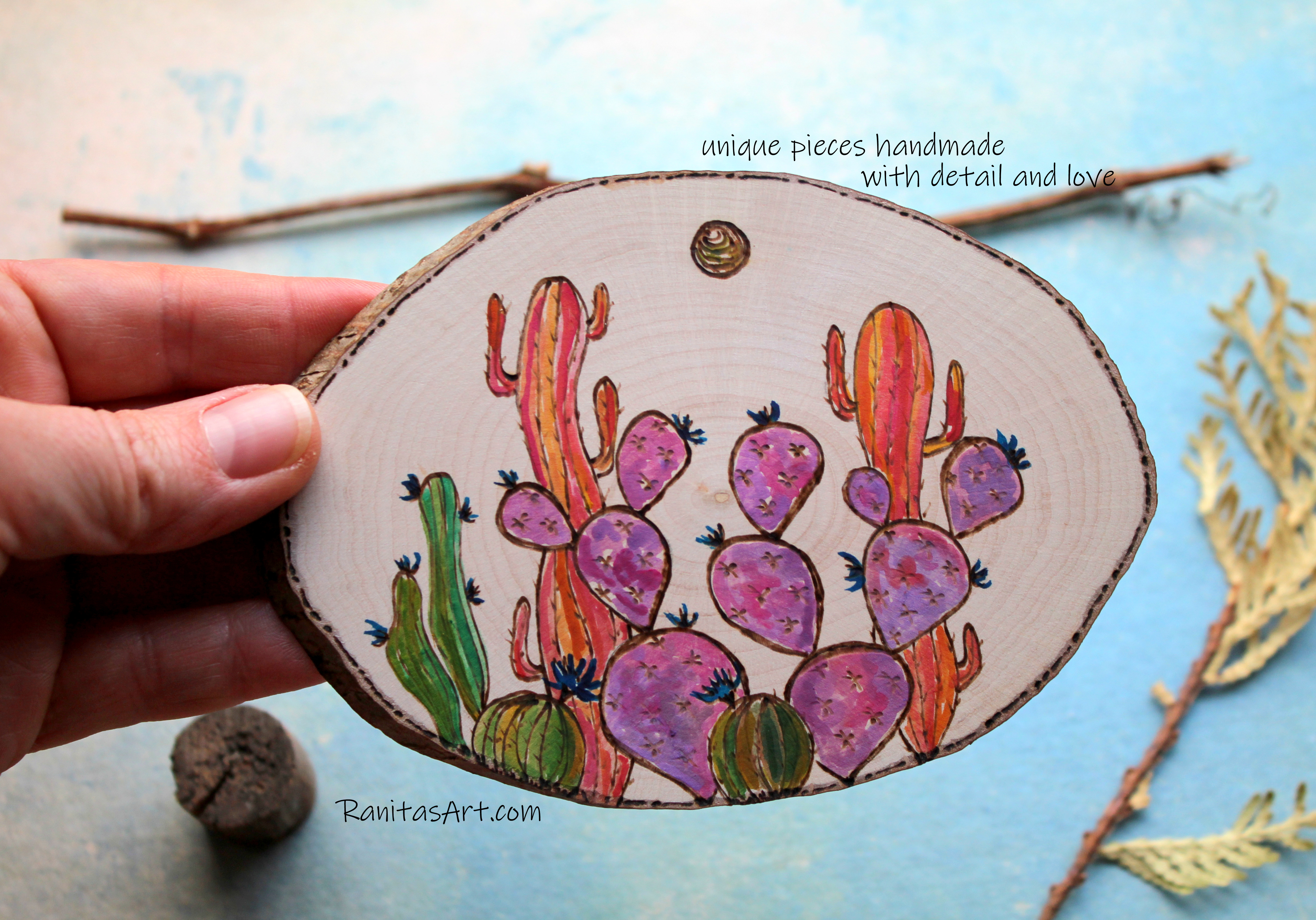 Cactus garden woodburning and watercolor