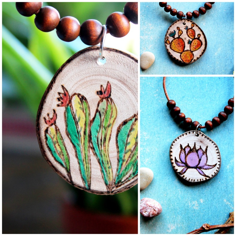 wood burning necklaces