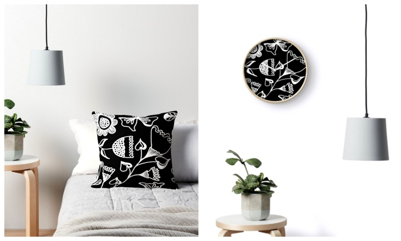 folk design black and white