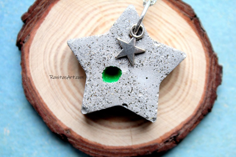 Concrete pendant star, long chain, with glitter, enamel color green and metal star