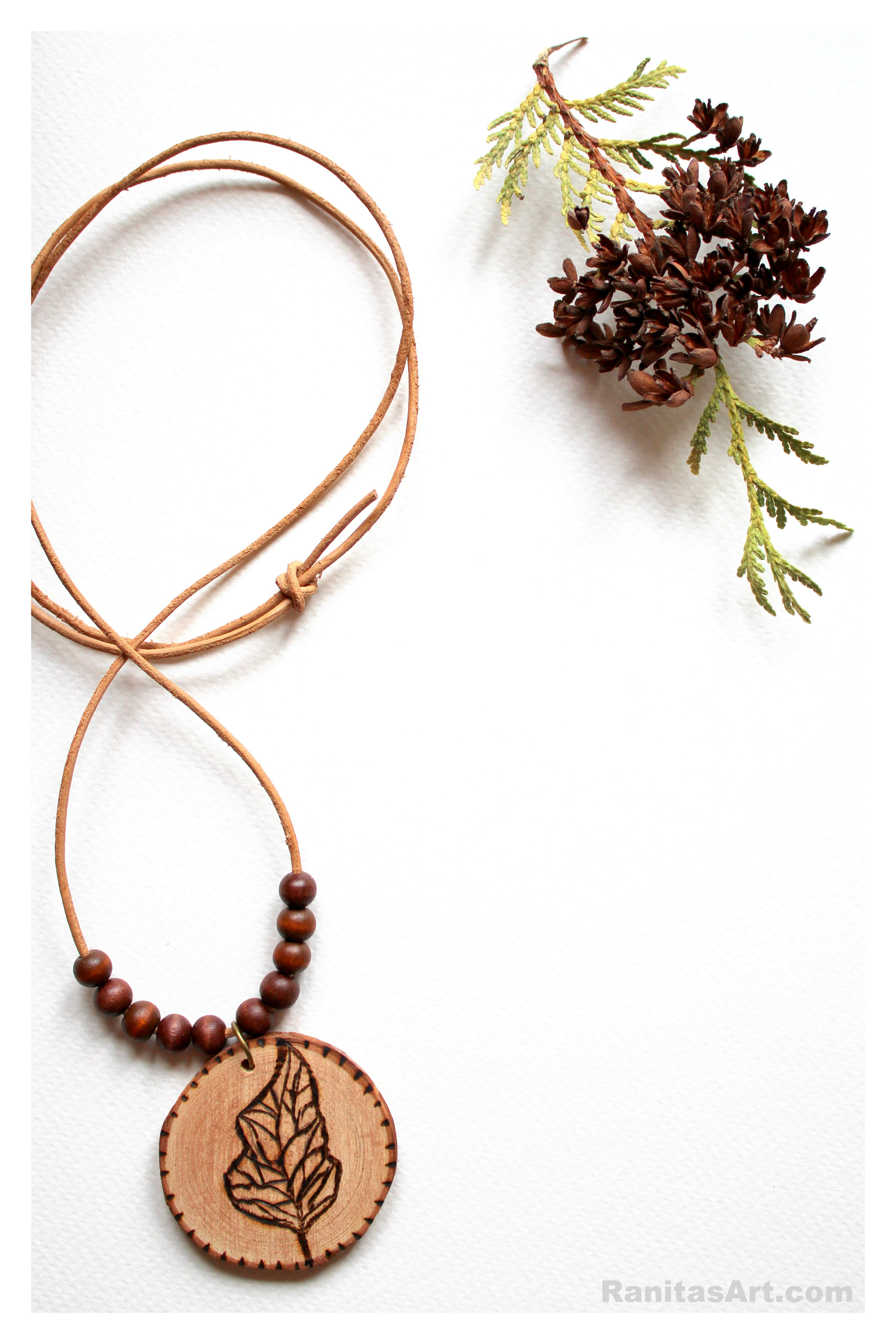 woodburning leaf necklace