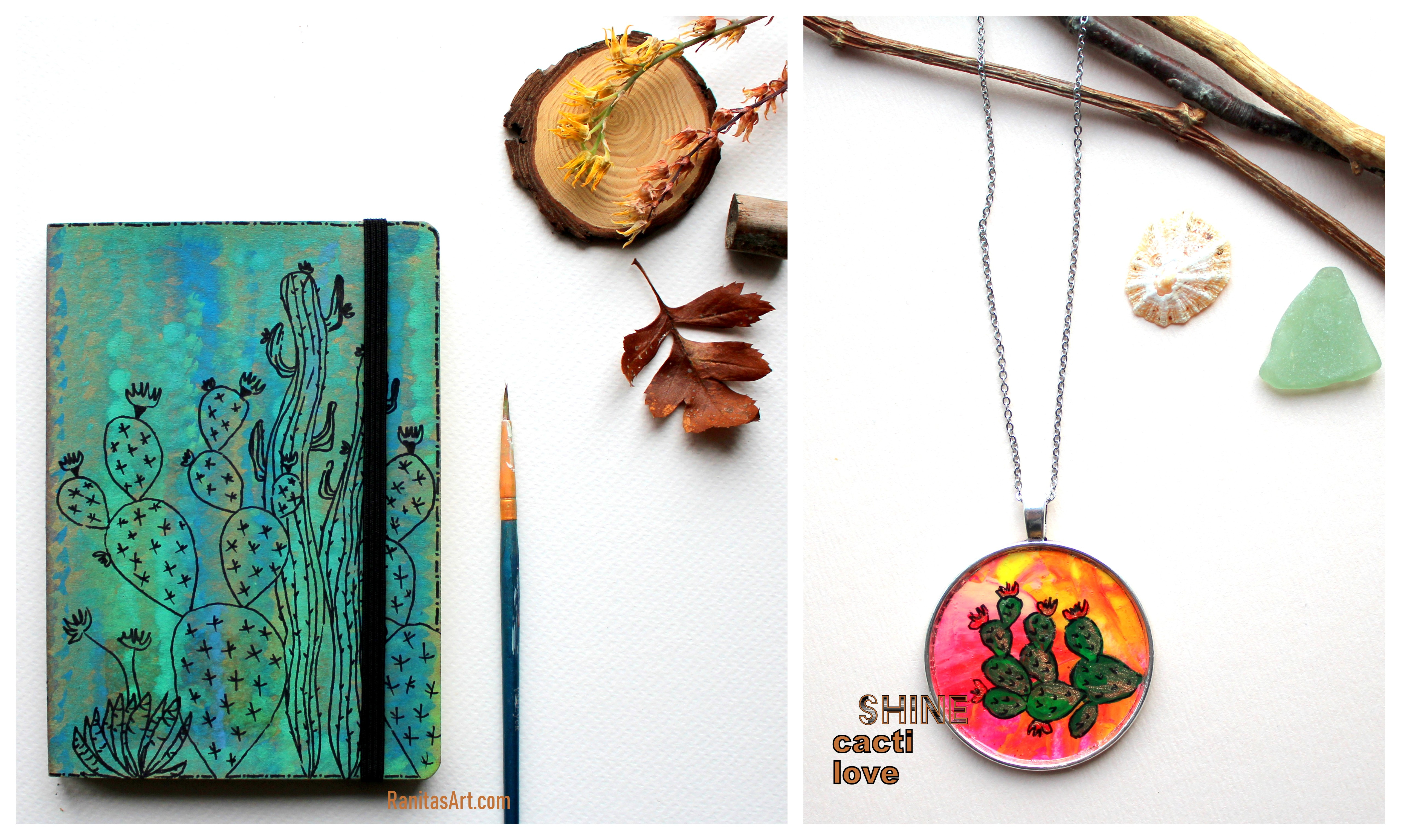 handmades sketchbook and necklace, painted with cactus